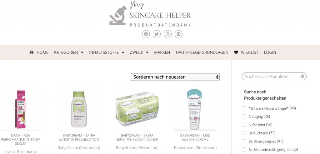 Suchfunktion Suchanleitung Skincare Helper 1