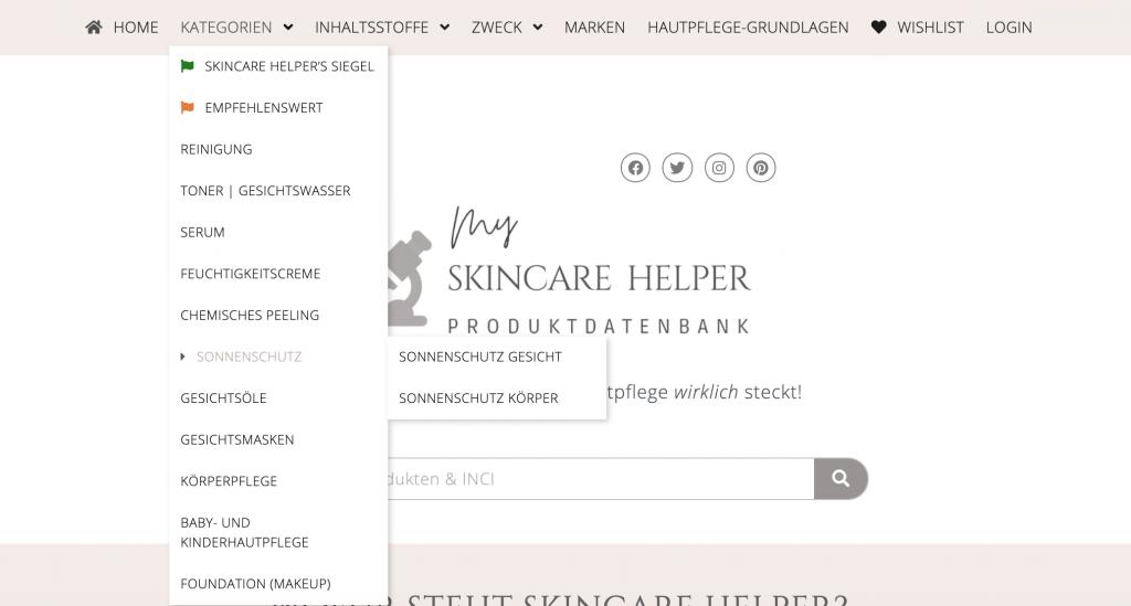Suchanleitung Skincare Helper Kategorien